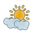 color crayon stripe cartoon sun and cloud weather vector image