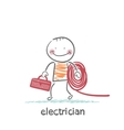electrician holding cable and toolbox vector image