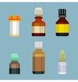 Flat style medical pharmaceutical bottles glasses vector image