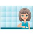girl brushes teeth in a bathroom vector image