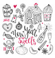 new year sweets set christmas hand drawn vector image