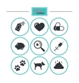 Veterinary pets icons Dog paws syringe signs vector image