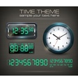 Clocks and electronic dial on vector image vector image