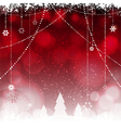 Christmas red background with hanging stars and vector image vector image