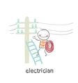 electrician costs on a ladder and check the wires vector image
