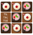 Tic-Tac-Toe of milk shake and strawberry smoothie vector image