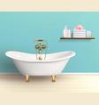 Bathroom Interior Colored Poster vector image