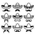 Mexican Sombrero hat with moustache or mustache vector image vector image