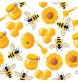 Seamless honey bee pattern vector image