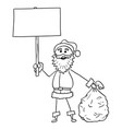 christmas santa claus with bag of gifts and empty vector image