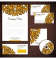 Corporate identity with floral gold ornament vector image