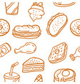 doodle of various food style collection vector image