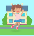 girls jumping with joy in front of cottage house vector image
