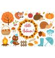 hello autumn icons set flat or cartoon style vector image