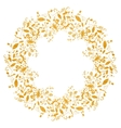 Circle gold floral frame in doodle style vector image