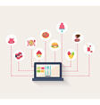 Set of food icons on a blog vector image