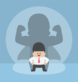 Businessman with his strong shadow vector image