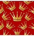 Gold crown on a red Seamless background vector image