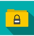 Folder with lock icon flat style vector image
