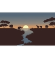 silhouette of elephants in the river vector image