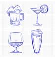ballpoint pen sketch drinks vector image