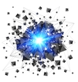 Black pyramids and blue fire explosion isolated on vector image