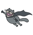 cartoon superhero bat cat in a mask is flying to vector image