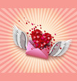 flying envelope to valentines day vector image