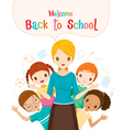Welcome Back To School Teacher And Student vector image