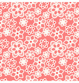 White flower lace on red background vector image
