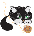 little black kitten playing with a ball of yarn vector image