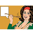 pop art retro woman with apron tasting her food vector image