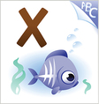 Animal alphabet for the kids X for the X-ray fish vector image