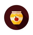 Apple jam jar flat icon with long shadow vector image