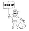 christmas santa claus with bag of gifts and ho ho vector image