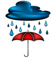 Cloud with rain water drops and red umbrella vector image