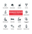 disabled people - line design silhouette icons set vector image