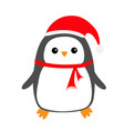 penguin bird on snowdrift red santa claus hat vector image
