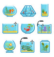 set of different aquariums with vector image