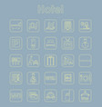set of hotel simple icons vector image