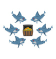 Sharks and prey Chest of gold and an angry fish vector image