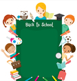Teacher Student And Icons Round Chalkboard vector image