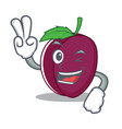 two finger plum character cartoon style vector image