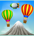 two hot air balloons flying with happy boys vector image