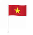 Vietnam flag waving on a metallic pole vector image