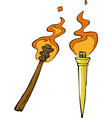 two torches vector image vector image