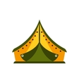 Yellow And Green Tarpaulin Tent In Camp Camping vector image