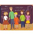 Children at school with teacher vector image vector image