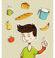 Cartoon teenager shows healthy food vector image