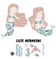 mermaids with glitter tails and under sea elements vector image